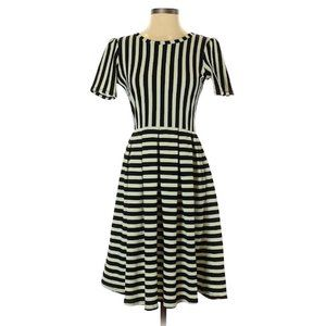 NWOT Lularoe Striped Puff Sleeve Swing Dress